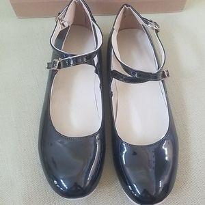 Faux patent leather ballet flats